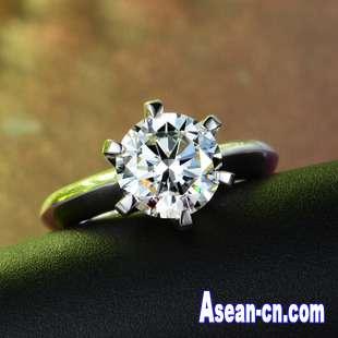 T款超闪SONA钻戒925纯银饰品高仿真钻石六爪戒指一件代发代理