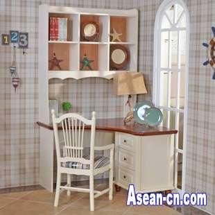 海森威家具地中海风格书桌组合简约宜家书桌组合实木书桌