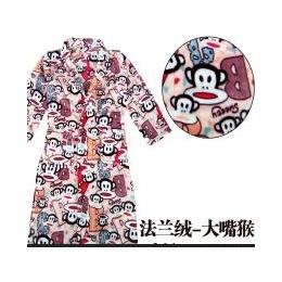 卡通睡袍花色法兰绒睡袍男女士家居服情侣珊瑚绒浴袍升级版