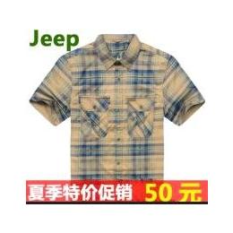 2012夏季吉普衬衫jeep短袖纯棉衬衫休闲稳重风格DS68-504