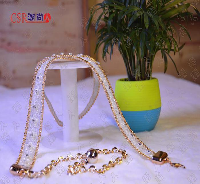 厂家直销新品时尚创意女士装饰腰带水钻梅花腰链腰饰批发
