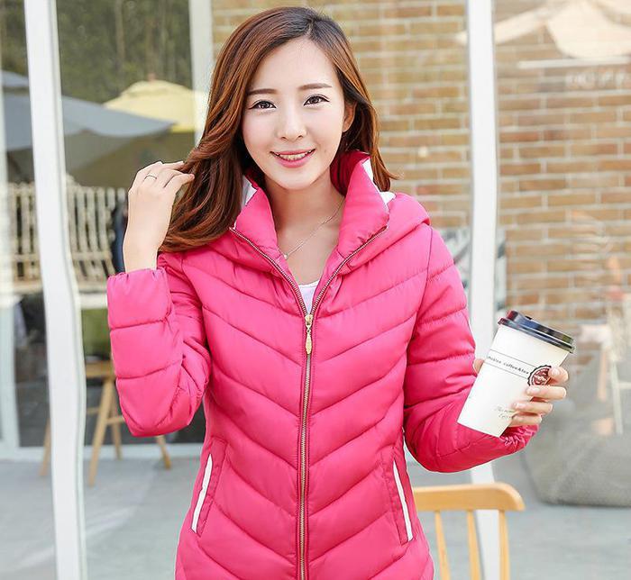 实拍2015冬季新款韩版修身时尚短款羽绒服女轻薄款棉衣棉服