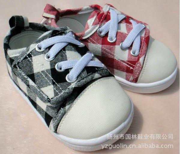 外贸日单新款经典格子魔术贴松紧小童舒适柔软适步鞋