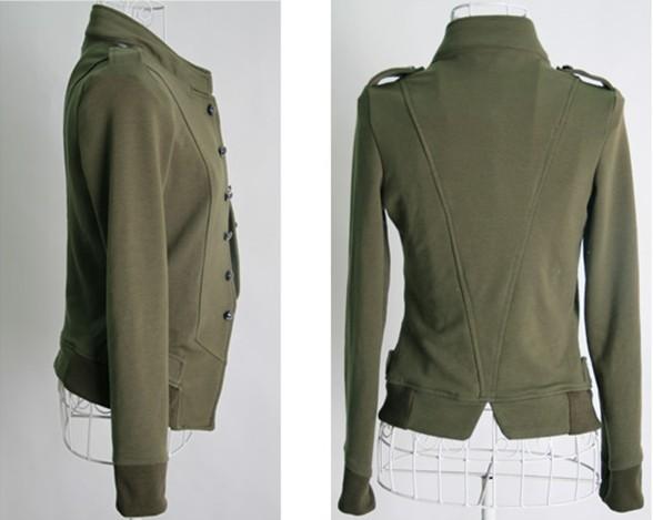 2011韩版时尚百搭立领双排扣修身长袖短外套