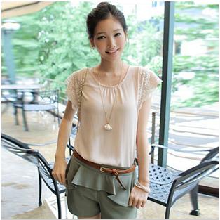 【大额专供】现货韩国品牌蕾丝飞袖气质款白领OL雪纺衬衫