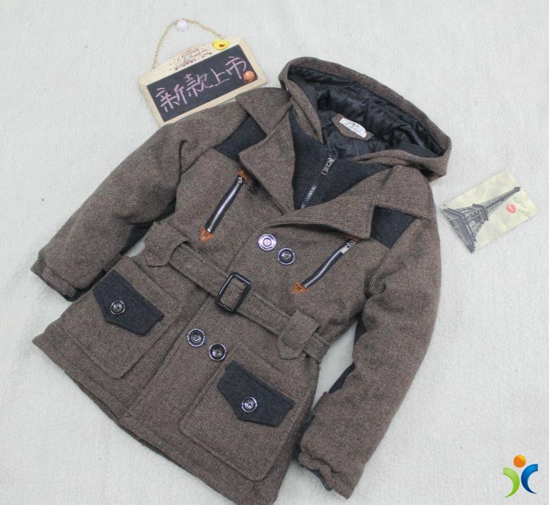 2014冬季保暖男童大童呢子大衣加厚腰带风衣长款童装外套一件