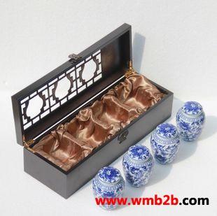 陶瓷茶叶罐青花茶叶罐通用茶叶包装木盒空盒雪菊茶叶盒子茶叶盒