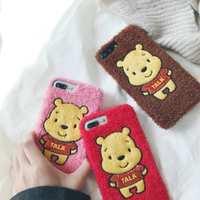 毛绒维尼 iPhone X 8保护套 苹果7手机壳plus 6s 6p软壳珠光亮片