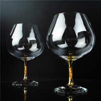 会所用24K金箔洋酒杯 水晶玻璃威士忌杯 矮脚白兰地杯 自产自销