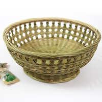 原生态优质竹蔑高脚双花边碗篮 水果篮纯手工编环保花篮 摆设篮