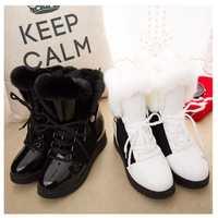 雪地靴厚底内增高2017冬季保暖毛毛靴白色超高跟坡跟松糕底女鞋