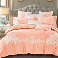 外贸60支纯色贡缎全棉四件套1.8m纯棉刺绣被套床上用品家纺批发