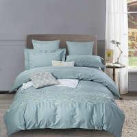 欧式床上用品60贡缎美式全棉四件套1.8m纯棉刺绣被套莱茵河畔豆绿