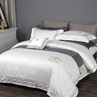 五星级酒店宾馆床上用品纯棉白色贡缎提花100支全棉被套四件套