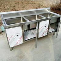 供应不锈钢拉门水池 酒店学校饭店柜式开门推拉门洗手池 直销