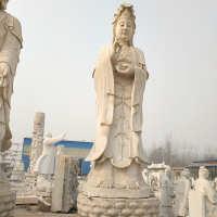 大理石汉白玉观音佛像雕塑 6米高观音石雕寺庙供奉广场摆件石雕