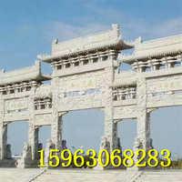石牌坊浮雕中式 单门三门石牌坊定制五门石牌楼寺庙石山门石牌坊