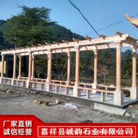 供应汉白玉石雕长廊 汉白玉走廊 小区凉亭长廊设计安装工程
