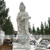曲阳石雕观音佛像 汉白玉杨柳滴水观音 神话人物雕塑 寺庙供奉