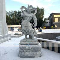 厂家供应 石雕哼哈二将 护法神将 神话人物雕塑佛像 寺庙供奉摆件