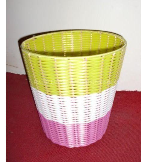 供应手工编织塑胶环保垃圾桶