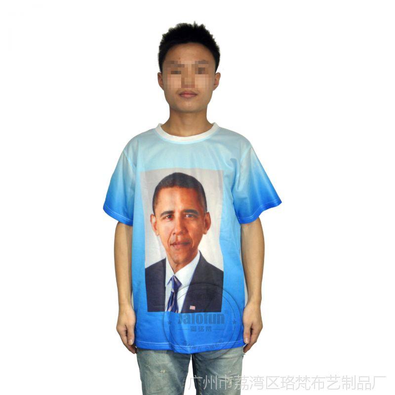 广东加工厂 奥巴马选举宣传印花烫画T恤 定制支持总统T恤