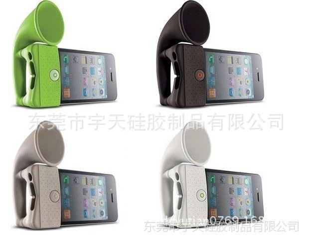 多功能手机配件 手机支架+手机喇叭 手机扩音器 硅胶手机支架