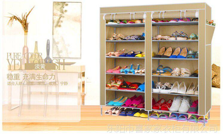 特价供应双6层简易鞋柜 防尘布鞋架鞋柜 优质环保鞋架鞋柜