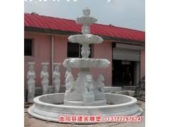 汉白玉水钵 人物喷泉雕塑 汉白玉水景雕塑