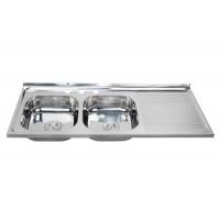 南美热销1.2米双盆带板不锈钢水槽