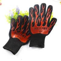 供应厨房烤箱耐高温手套 硅胶隔热芳纶手套 户外烧烤BBQ高温手套