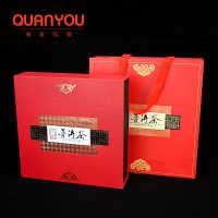 357g普洱茶包装礼盒茶饼包装盒红色茶叶盒子皮纹普洱空盒定制包邮