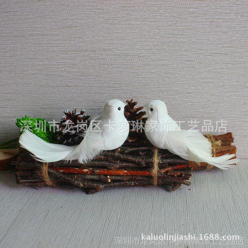 卡萝琳小白鸟羽毛鸟摆件桌面装饰仿真白色小鸟文艺复古拍照道具