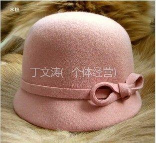 供应浪漫蝴蝶结欧单羊毛帽骑士帽新款礼帽韩版帽子礼帽