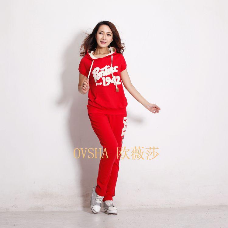 供应OVSHA欧薇莎夏装新款卫衣女士韩版时尚休闲套装两件套611