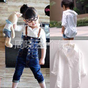 供应女童文艺范白色长袖衬衫韩版纯棉童装白衬衫衬衣春装新款
