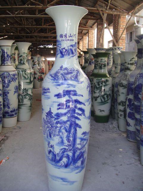 供应西安青花陶瓷大花瓶西安落地大花瓶制作西安红瓷开业送花瓶