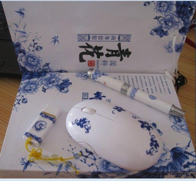 供应西安青花瓷笔制作西安青花瓷u盘青花三件套笔u盘移动电源