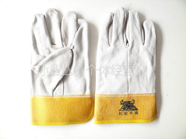 供应山东电焊手套批二层短全皮电焊手套颜色多样绒皮焊工劳保防护