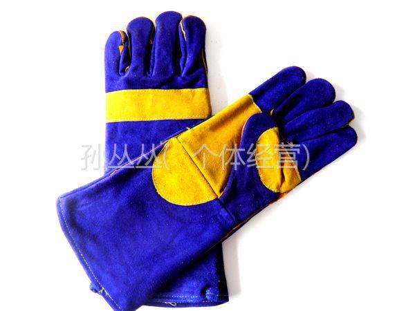 供应临沂劳保电焊手套批发价格宝蓝加托电焊作业防护手套焊工专用