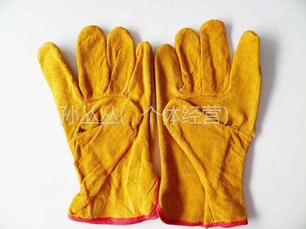 供应山东劳保批发作业防护耐磨防火隔热二层全皮焊工劳动保护手套