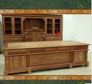 供应东阳木雕缅甸花梨木山水书桌椅书柜组合实木书桌红木家具