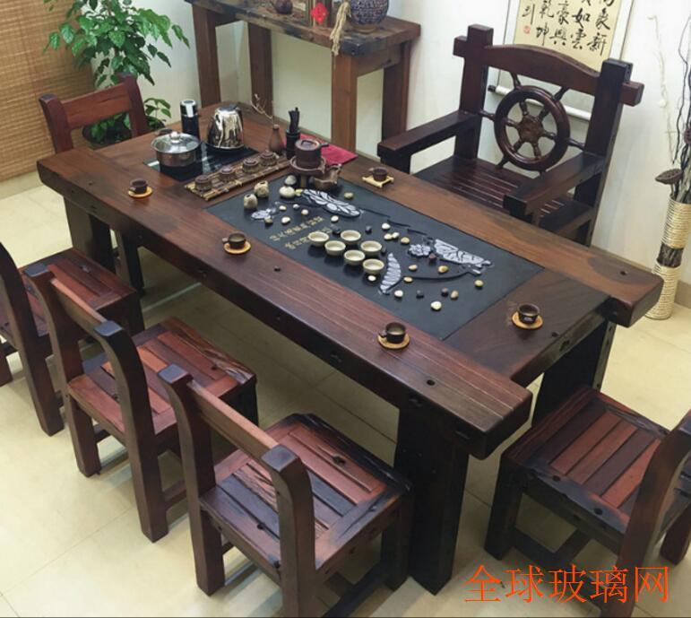 聚睿缘家具老船木茶桌茶台椅组合