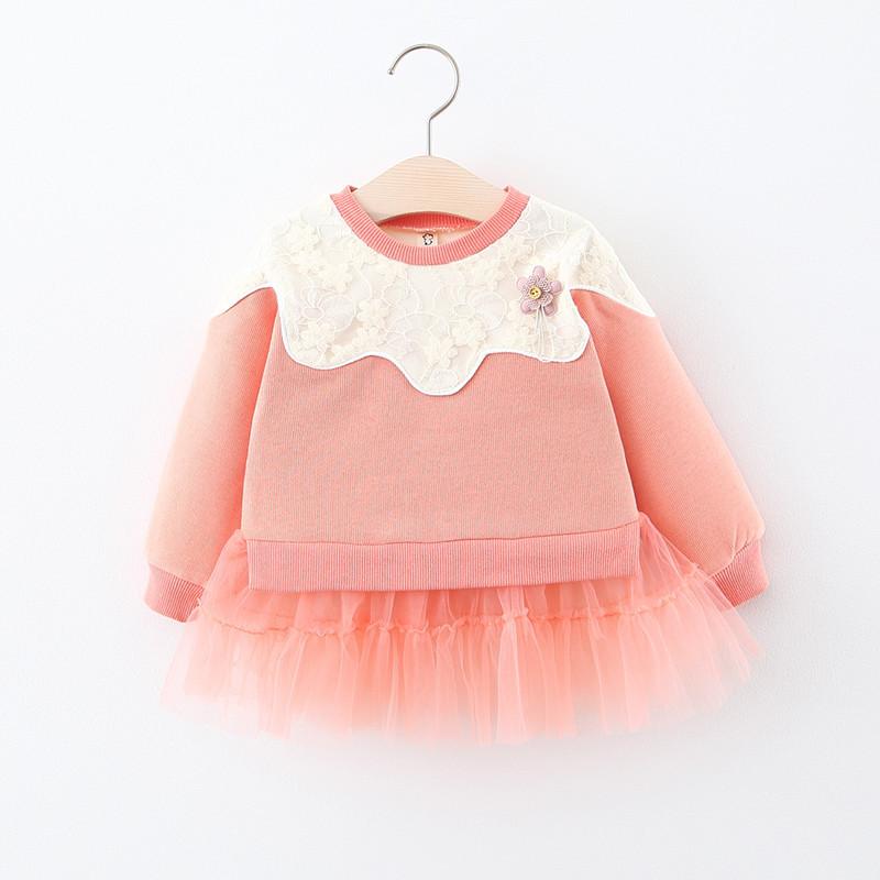 2020新款童裝女童裙衫春秋季嬰幼兒童寶寶蕾絲網紗拼接衛衣裙韓版