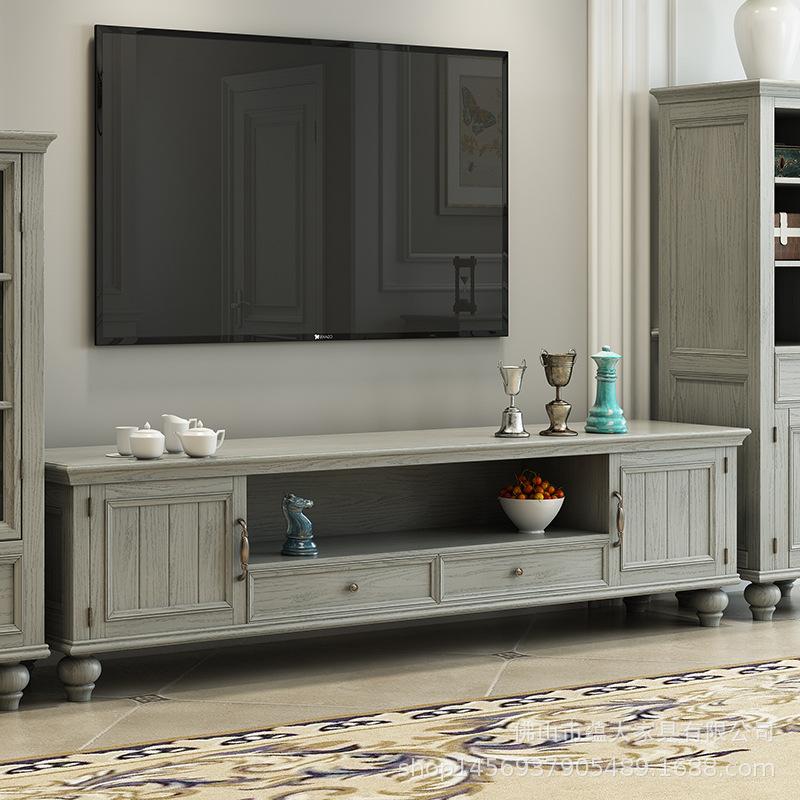 美式實木電視柜白蠟木客廳地柜裝飾柜視聽柜組合工廠直銷客廳家具
