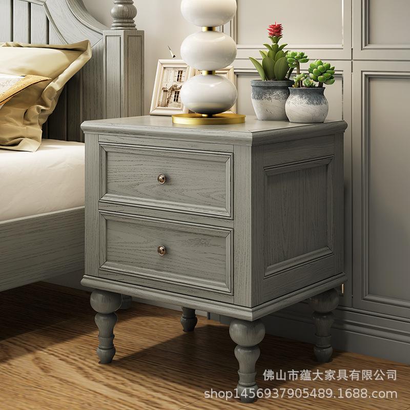 美式實木床頭柜臥室灰色床頭儲物收納柜兩抽斗柜實木套房廠家批發