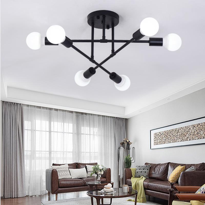 北欧创意个性吸顶灯客厅后现代卧室书房餐厅铁艺6头LED简约吸顶灯