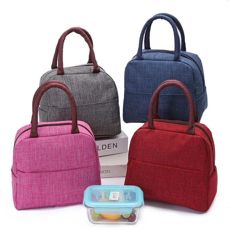 新款纯色便当包时尚小清新手提保温包带饭包饭盒袋学生午餐保温袋