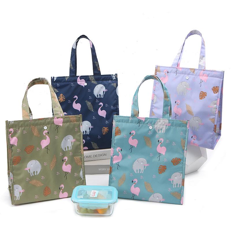 新款旅行可愛動物手提飯盒袋便當包大容量折疊保溫袋戶外野餐包