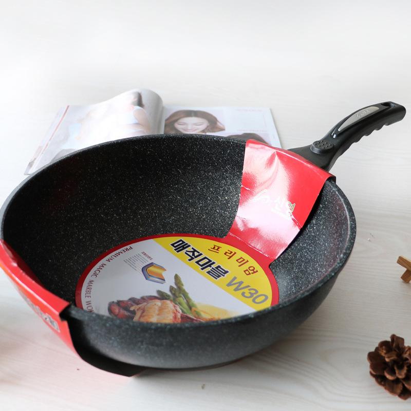 韩国进口炒锅麦饭石不粘加深炒锅家用锅具炒菜锅大容量